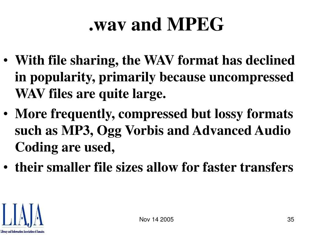 .wav and MPEG