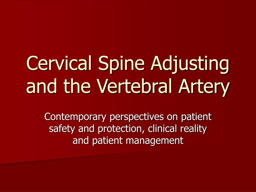 cervical spine adjusting and the vertebral artery l.