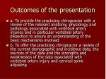 outcomes of the presentation