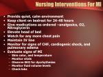 nursing interventions for mi