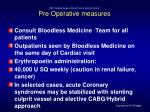 pah cardiac surgery blood conservation protocol pre operative measures