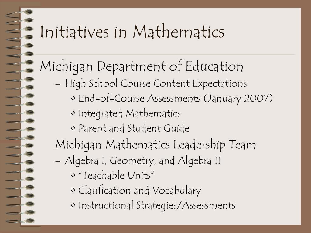 Initiatives in Mathematics