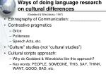 ways of doing language research on cultural differences