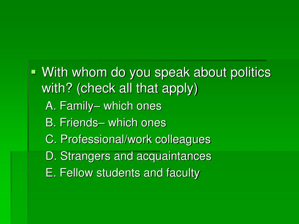 With whom do you speak about politics with? (check all that apply)