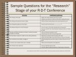 sample questions for the research stage of your r d t conference
