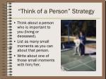 think of a person strategy