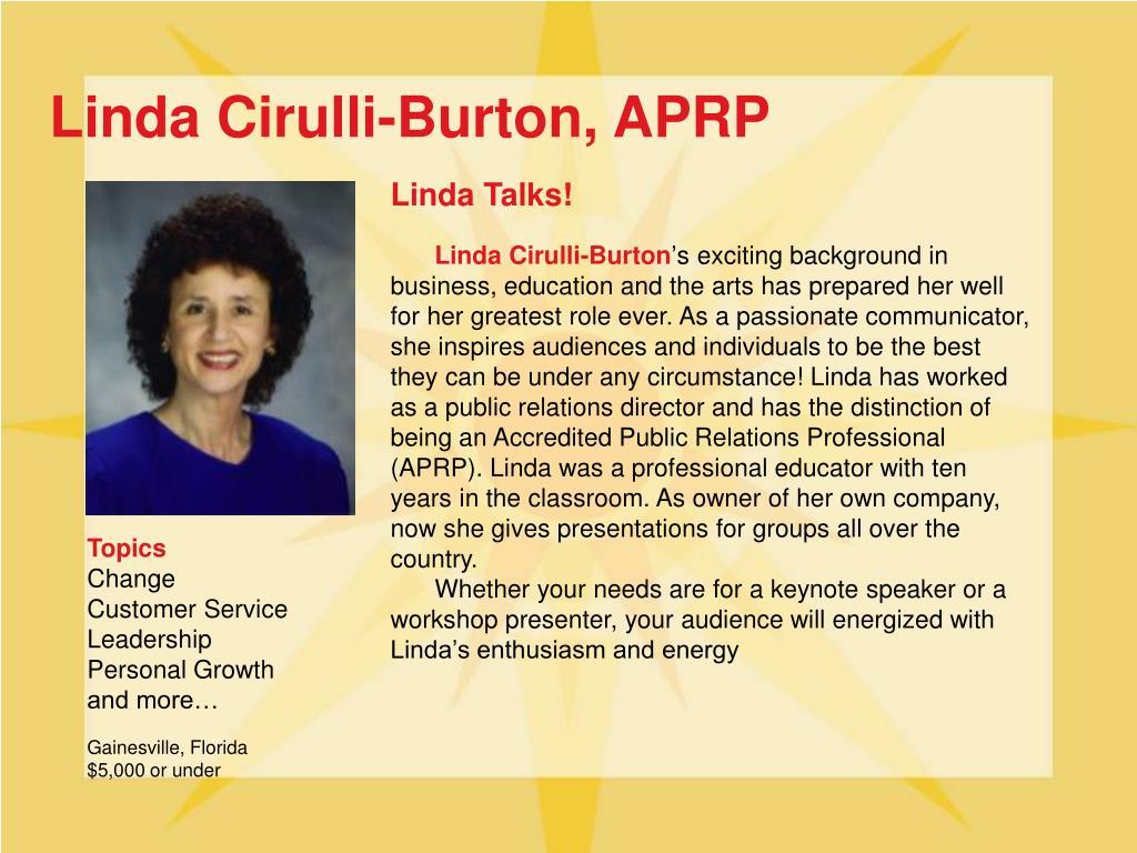 Linda Cirulli-Burton, APRP