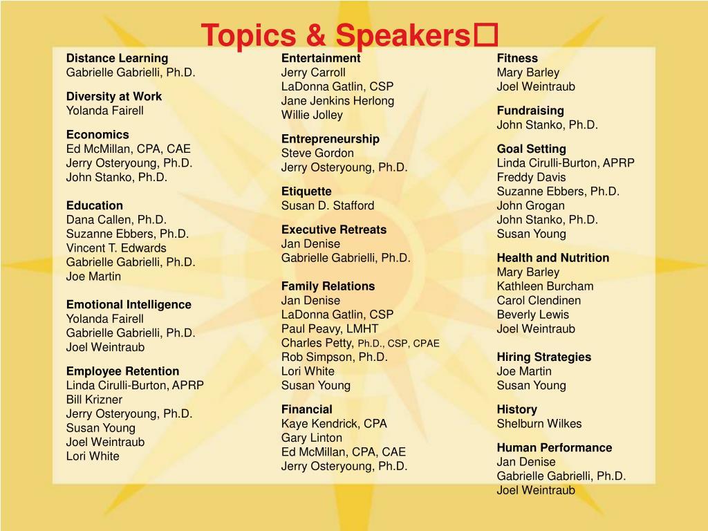 Topics & Speakers