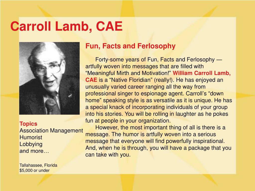 Carroll Lamb, CAE