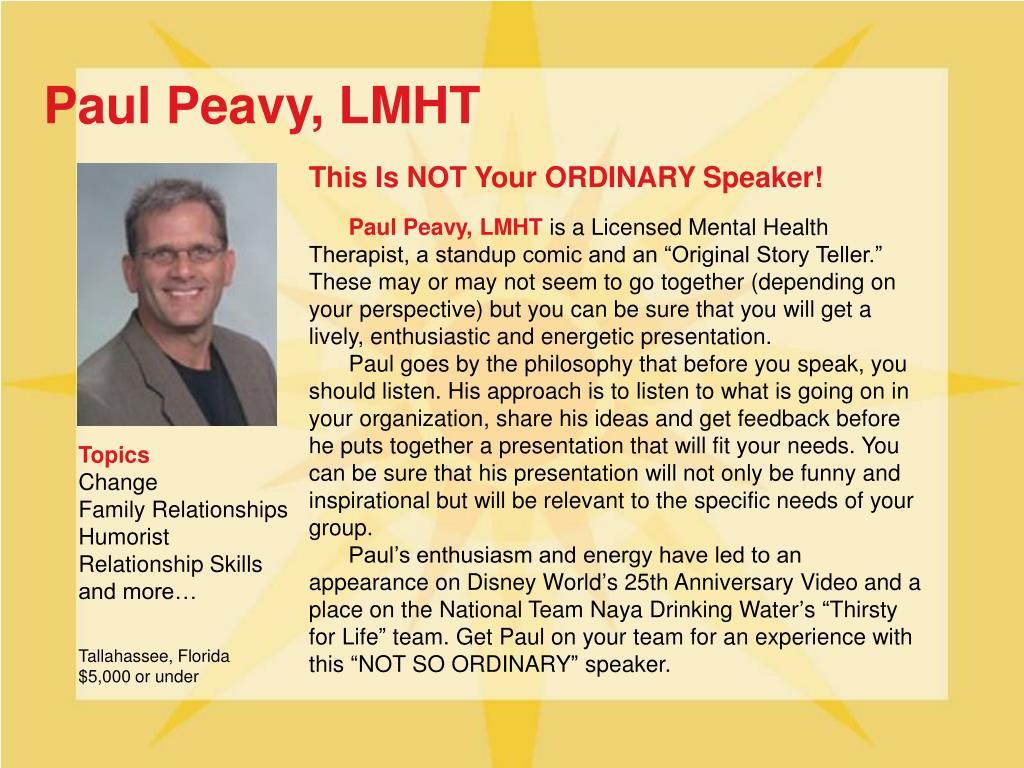 Paul Peavy, LMHT