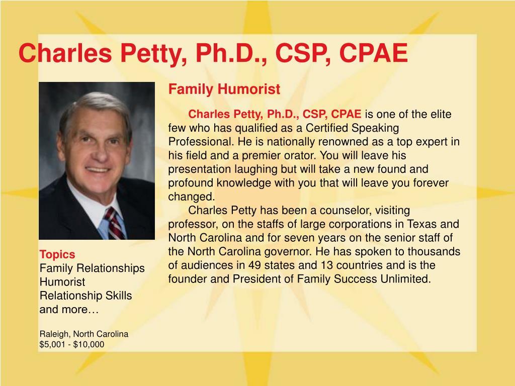 Charles Petty, Ph.D., CSP, CPAE