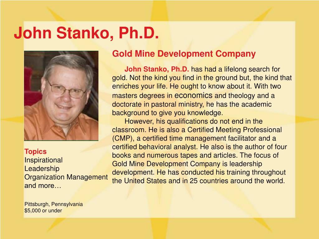 John Stanko, Ph.D.