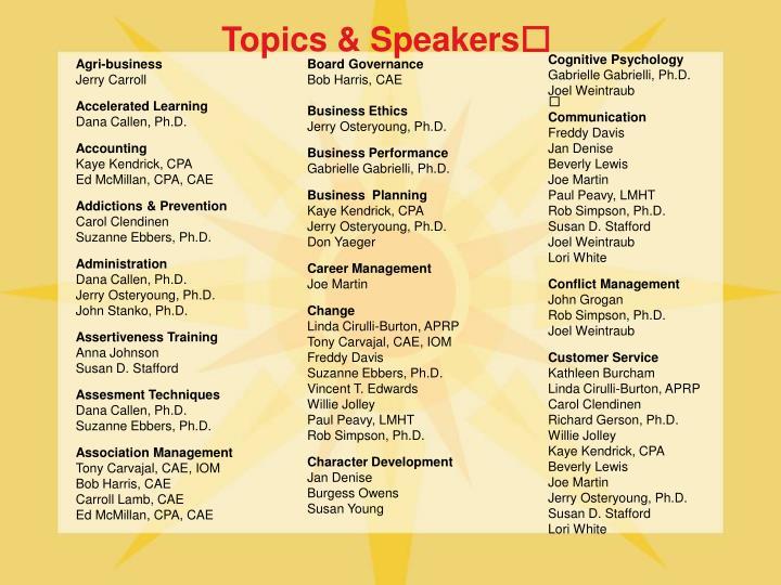 Topics speakers