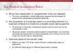 tax neutral acquisition rules