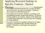 applying research findings in specific contexts marital therapy