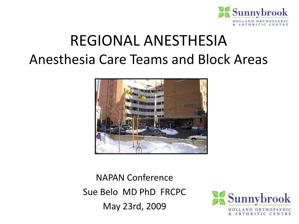 regional anesthesia anesthesia care teams and block areas l.