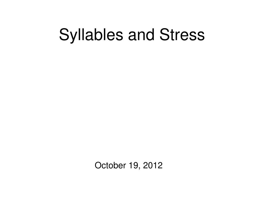 syllables and stress l.