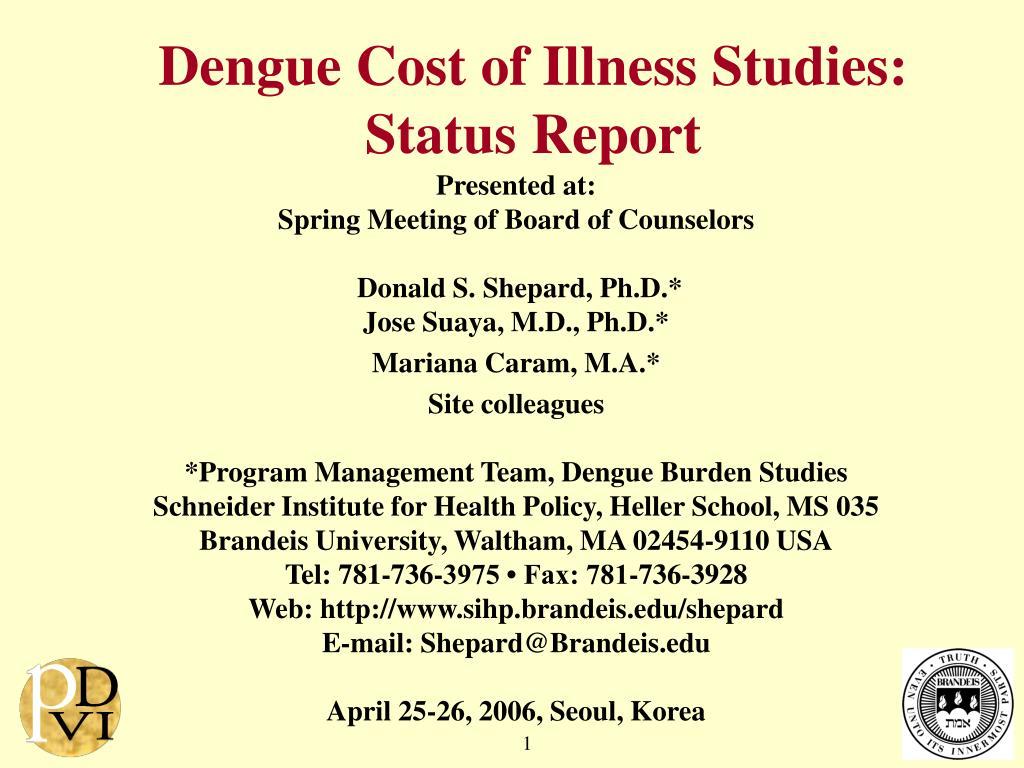 dengue cost of illness studies status report l.