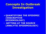 concepts in outbreak investigation