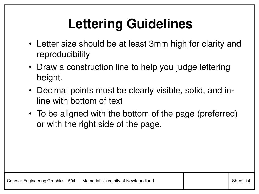 Lettering Guidelines