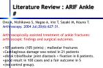 literature review arif ankle
