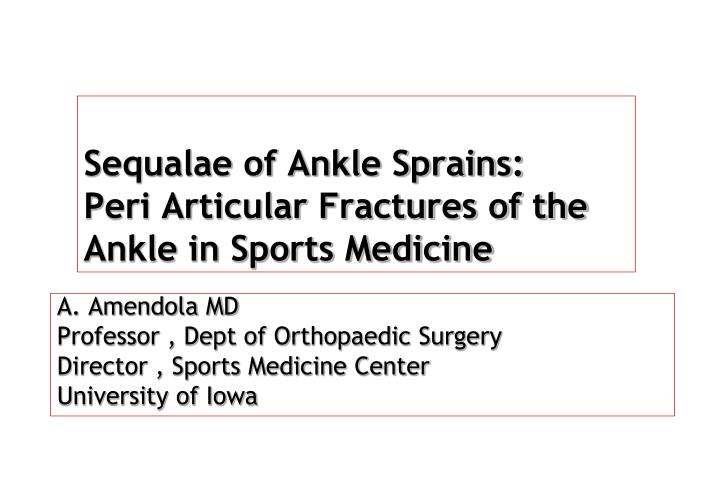 sequalae of ankle sprains peri articular fractures of the ankle in sports medicine n.