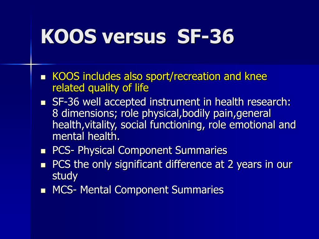KOOS versus  SF-36