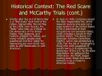 historical context the red scare and mccarthy trials cont