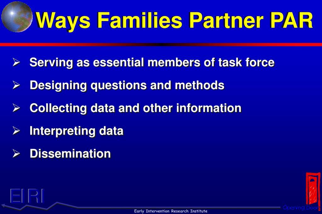 Ways Families Partner PAR