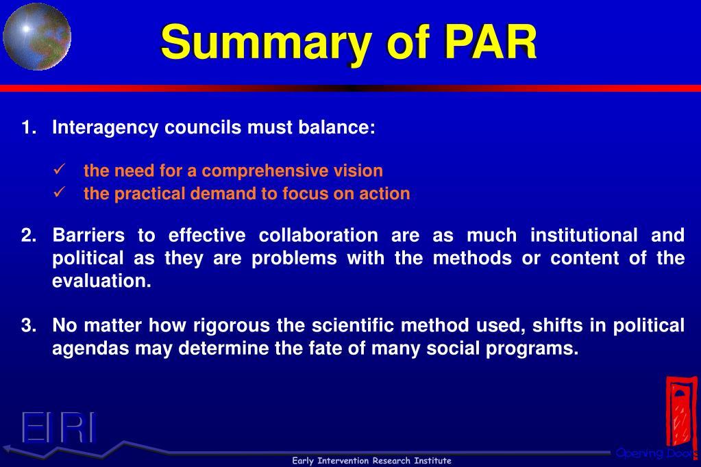 Summary of PAR