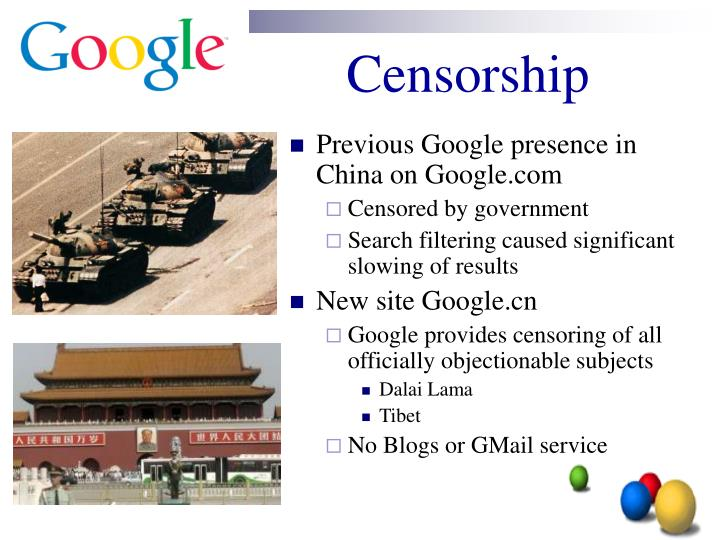 Previous Google presence in China on Google.com