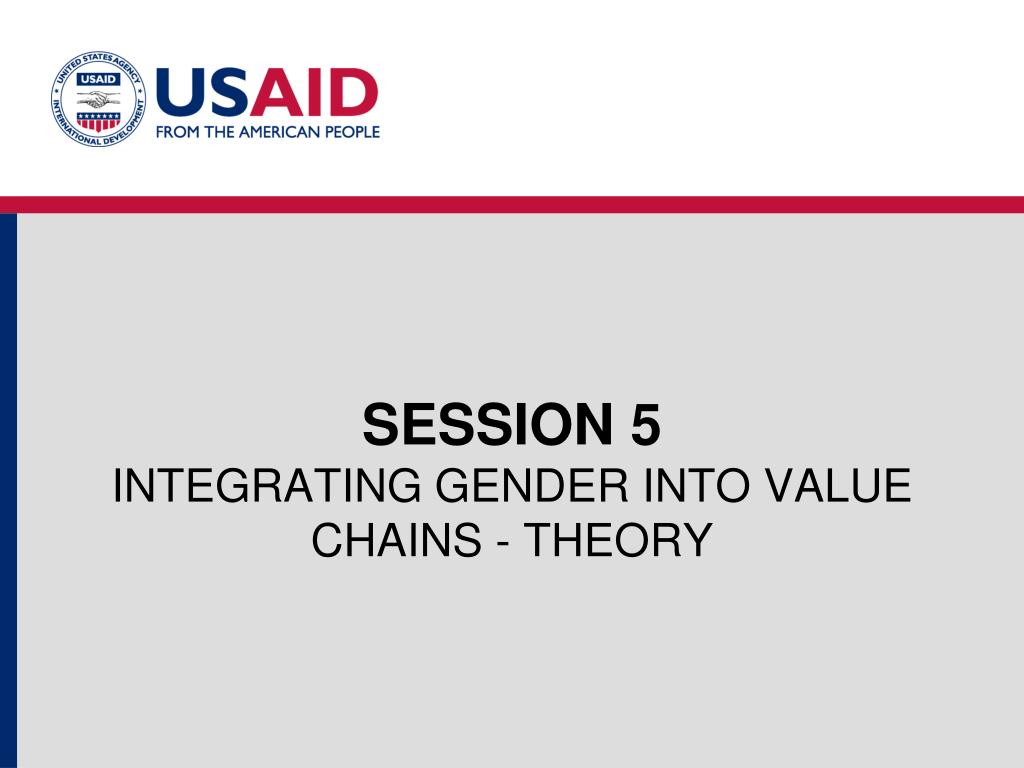 session 5 integrating gender into value chains theory l.