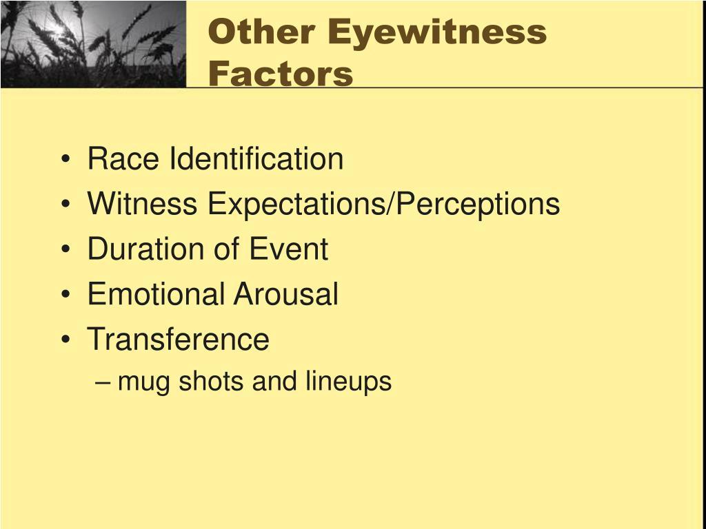 Other Eyewitness Factors