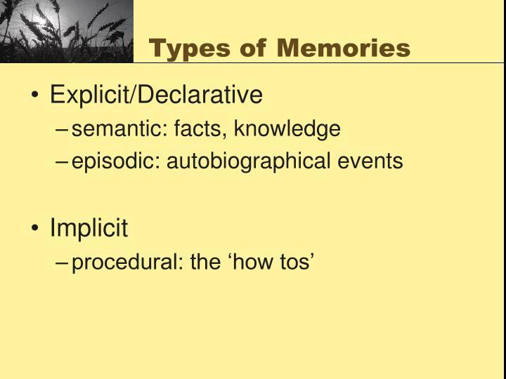 Types of memories