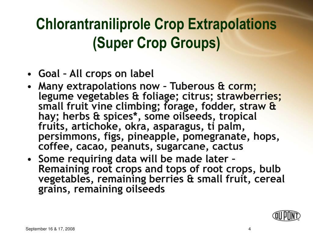Chlorantraniliprole Crop Extrapolations