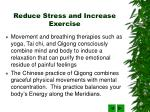 reduce stress and increase exercise