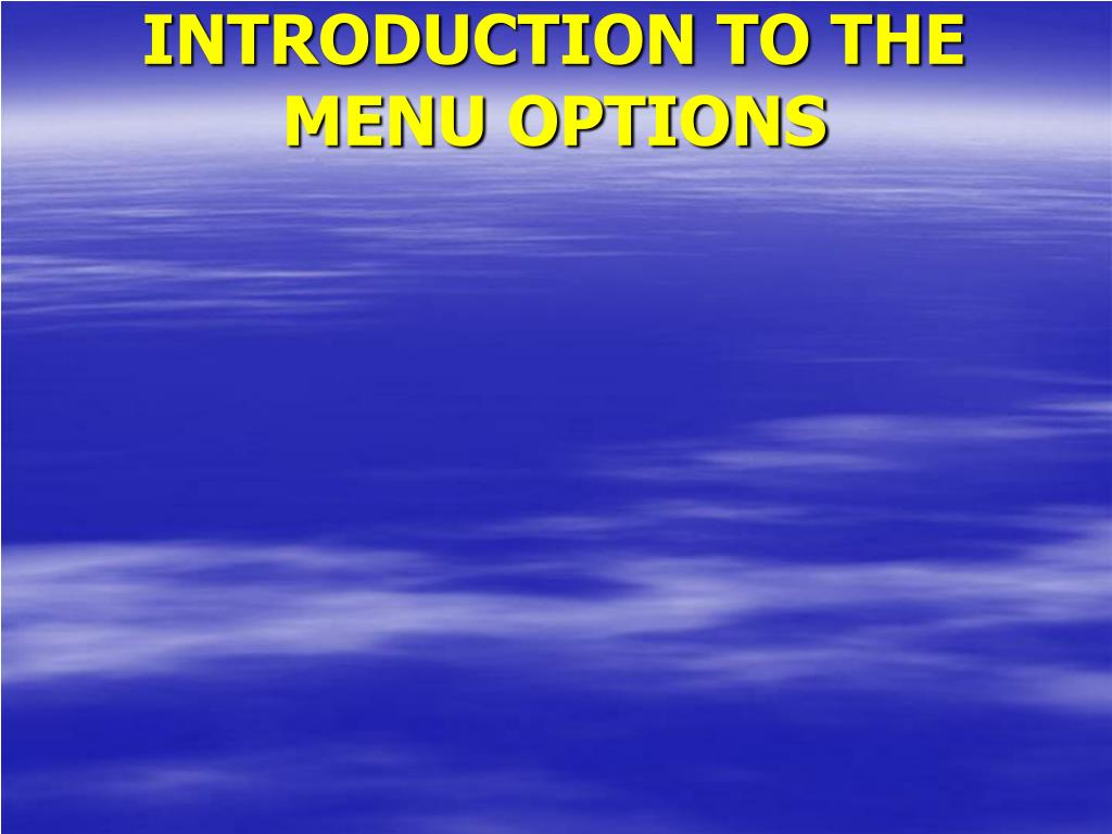 INTRODUCTION TO THE MENU OPTIONS