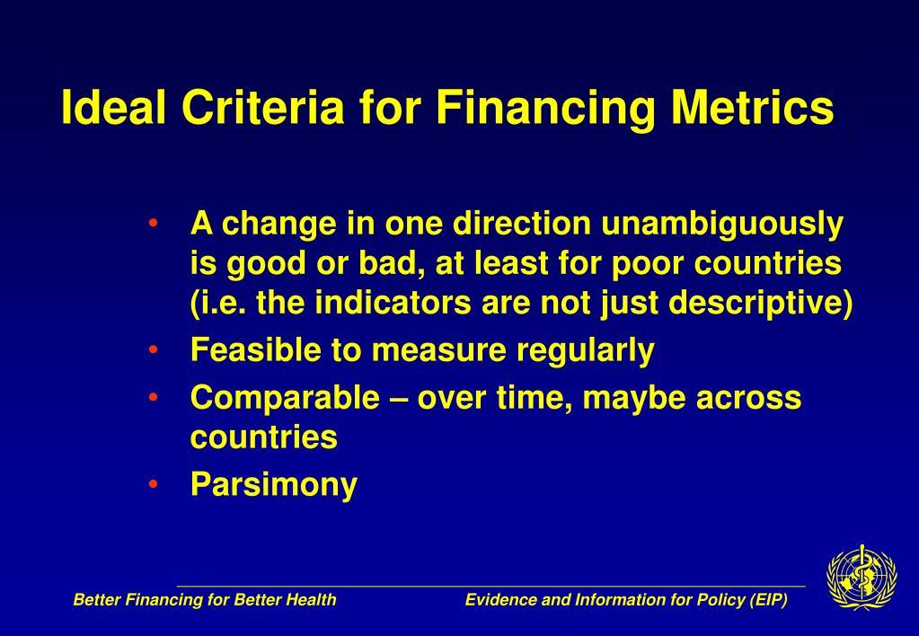 Ideal Criteria for Financing Metrics
