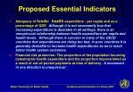 proposed essential indicators