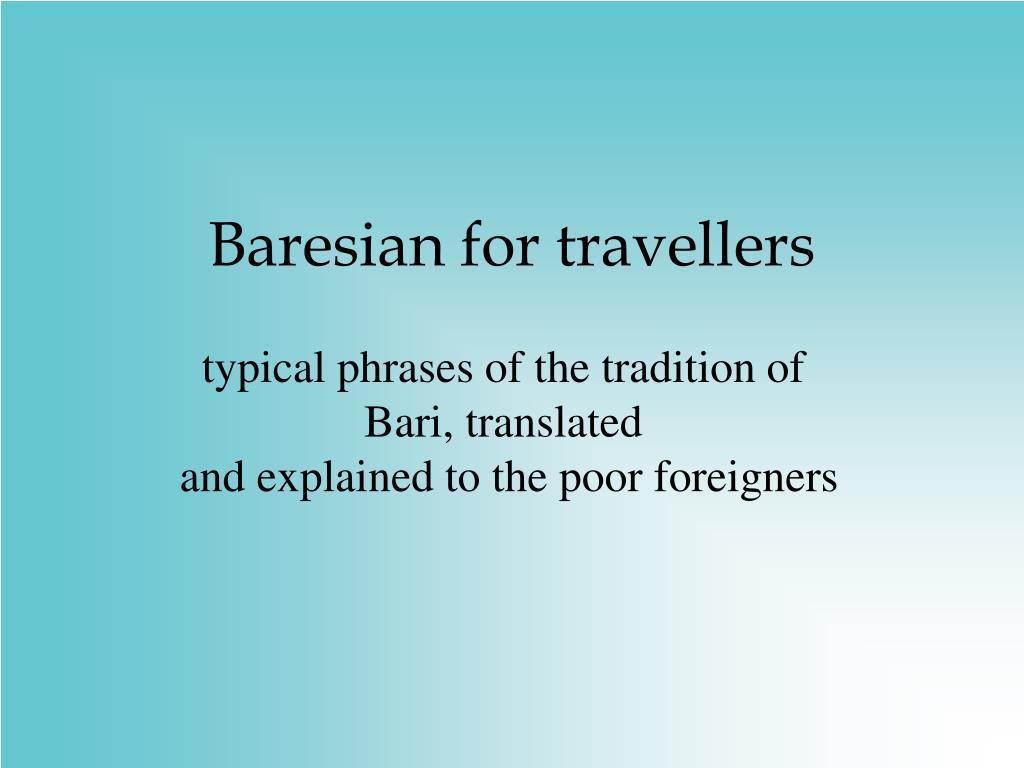 baresian for travellers l.