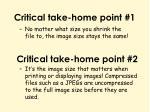 critical take home point 1