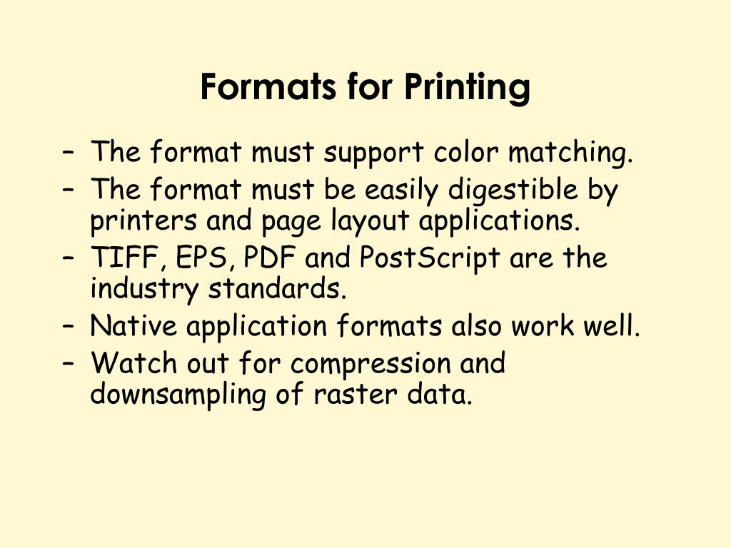 Formats for Printing