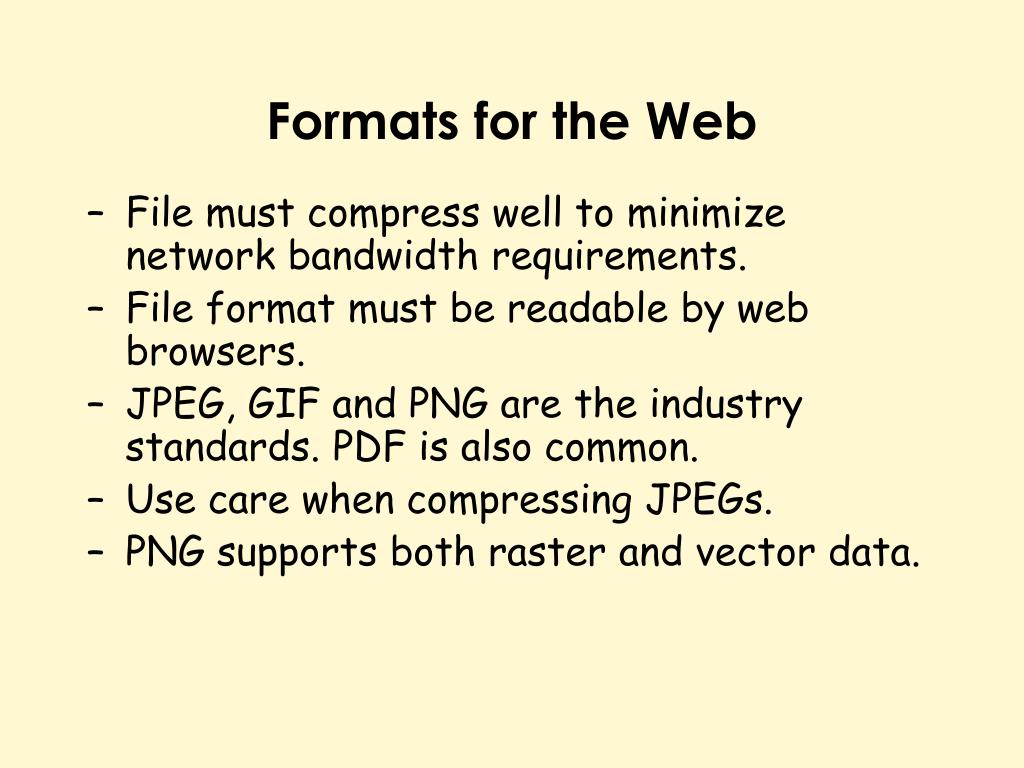 Formats for the Web