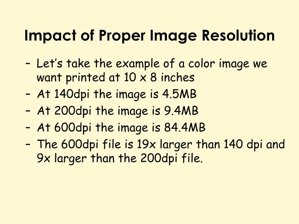 Impact of Proper Image Resolution