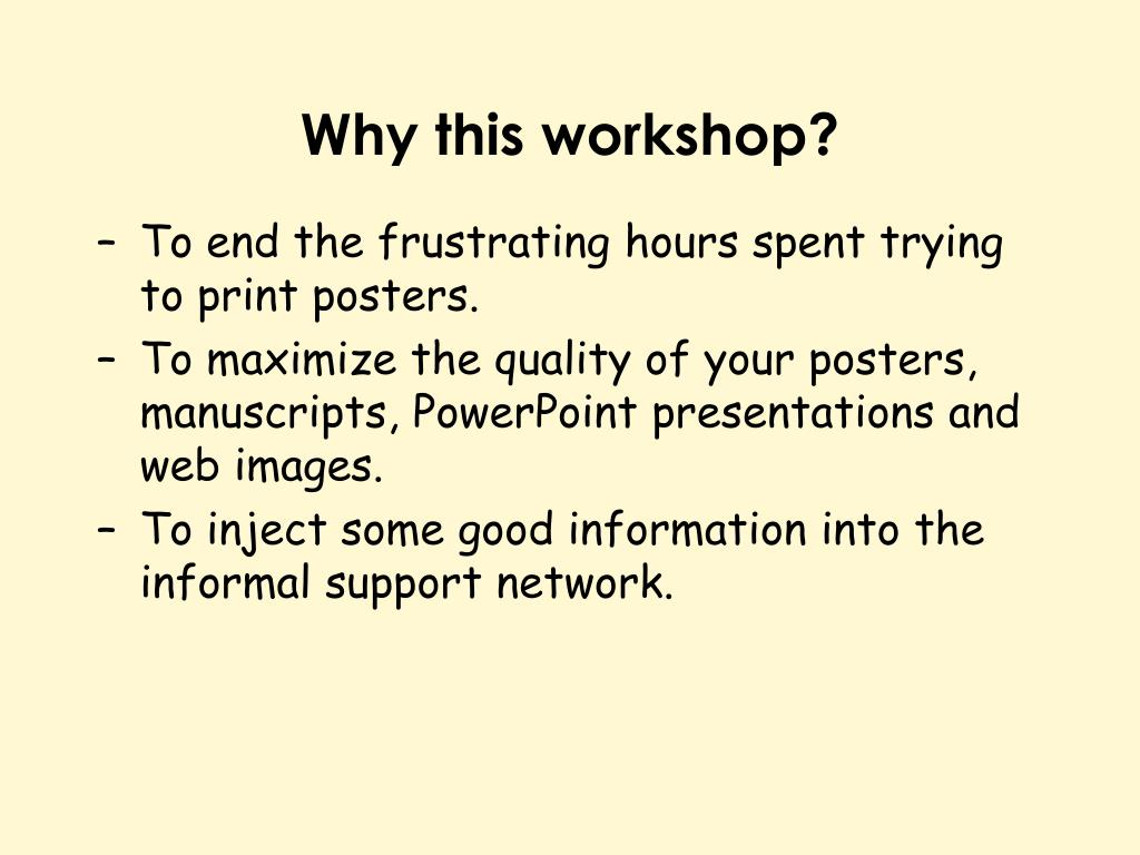 Why this workshop?