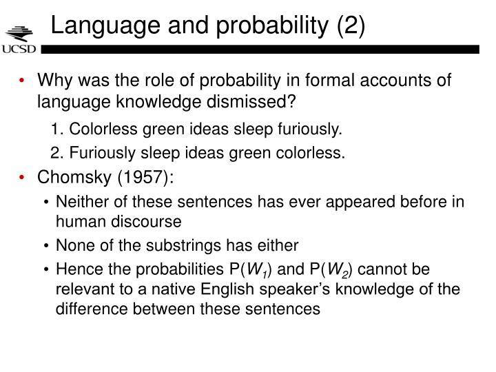 Language and probability 2