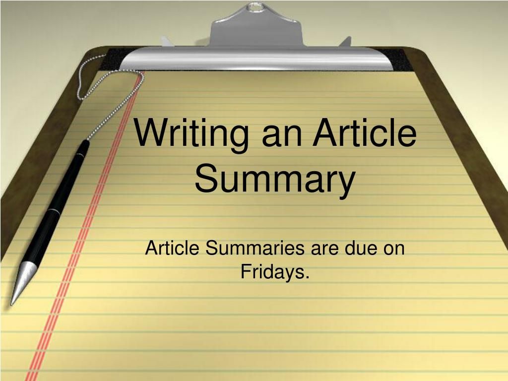 writing an article summary l.