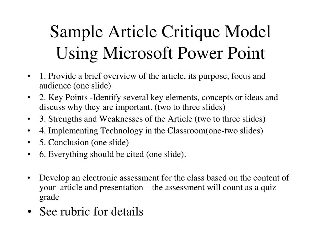 ppt - sample article critique model using microsoft power point powerpoint presentation