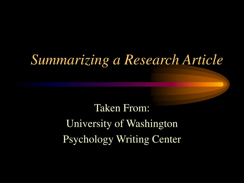 summarizing a research article l.