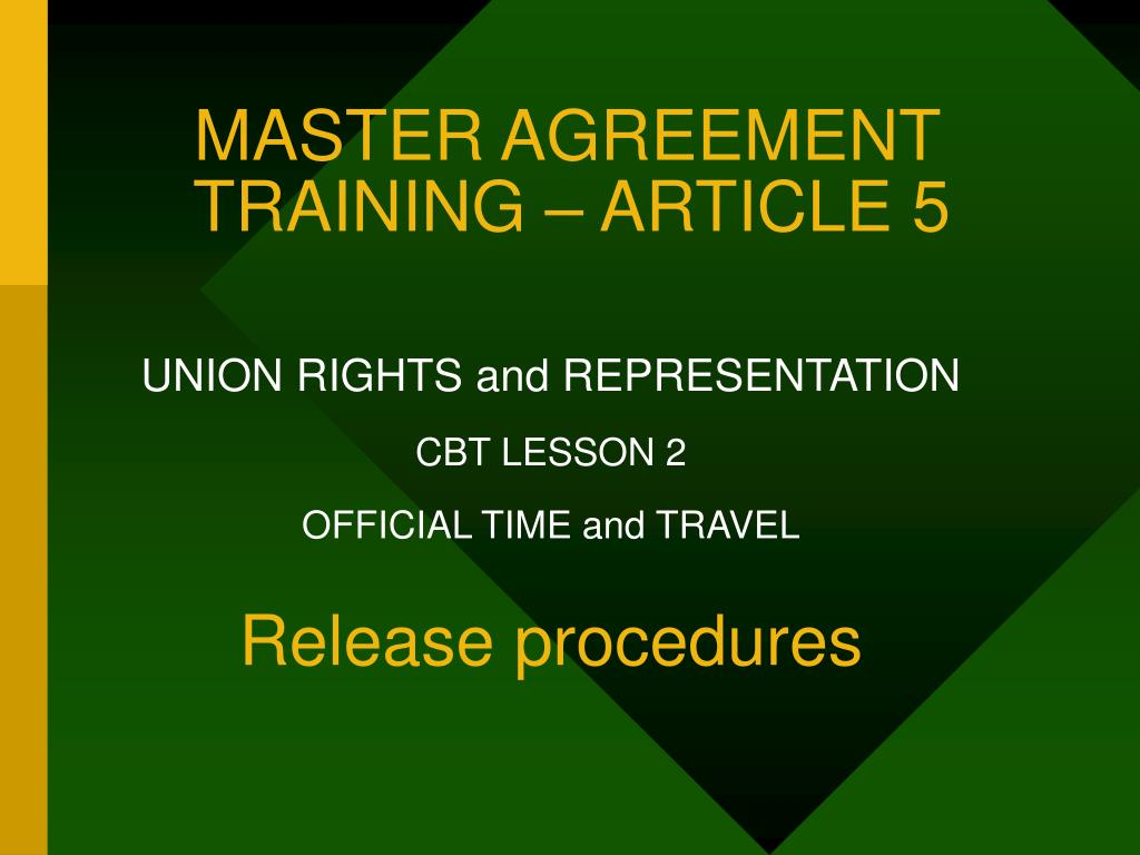 master agreement training article 5 l.